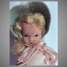 Vintage Nancy Ann Storybook Bisque Doll, Over The Hills, 1940's