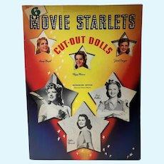 Rare 6 Movie Starlets Cut Out Dolls, Un-Cut Paper Dolls,  Whitman, 1942