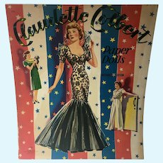 Un-Cut Claudette Colbert Paper DOlls, 1943, Saalfield!