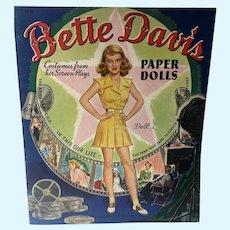 Rare Bette Davis Paper Dolls, 1942, Original Un-Cut