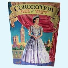 Vintage 1953 Coronation Paper Dolls and Coloring Book, Saalfield Pub. Un-Cut