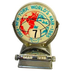 Vintage 1964-1965  New York Worlds Fair Tin Litho Perpetual Flip Desk Calendar