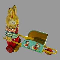 Rare, Vintage J. Chein Tin Bunny and Wheelbarrow