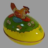 Vintage J.Chein Tin Easter Egg with Mother Hen