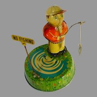 """RARE, SY Toys """"No Fishing"""" 1950's Toy Wind-Up"""