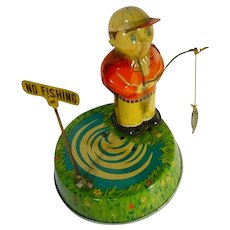 "RARE, SY Toys ""No Fishing"" 1950's Toy Wind-Up"