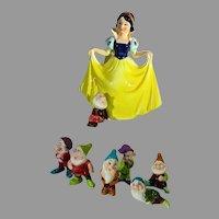 Vintage Disney Snow White & The 7 Dwarfs Ceramic Figures, Japan, 1970's