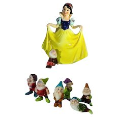 Vintage Disney Snow White & The 7 Dwarfs Ceramic Figures, Japan, 1970's