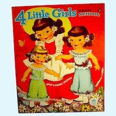 Vintage Merrill 4 Little Girls From School Paper Dolls, Mint-Un-Cut, 1957