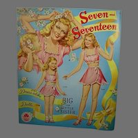 Vintage Un-Cut Merrill Seven and Seventeen Paper Dolls, 1945!