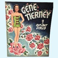 Vintage Whitman Gene Tierney Un-Cut Paper Dolls, 1947