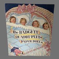 The Badgett Quadruplets Paper Dolls, Rare, Saalfield, 1941, Un-Cut