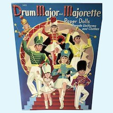 Rare 1941 Drum Major and Majorette Paper Dolls, Un-Cut, Merrill Publishing Co.