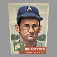 Joe Astroth Baseball Card, Philadelphia Athletics Catcher, Topps, 1953
