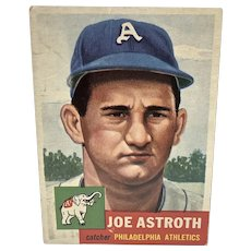 Joe Astroth Baseball Card, Philadelphia Athletics Catcher, Topps, 1953
