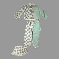 Charming Ideal Shirley Temple Pajama's and Night Cap for 12 Inch Doll, 1950's