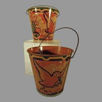 Pair of Tin Pails By Happynak, of Frolicking Animals circa 1930's