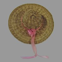 VIntage Straw Doll Hat with Pink Flower & Ribbon, 1960's