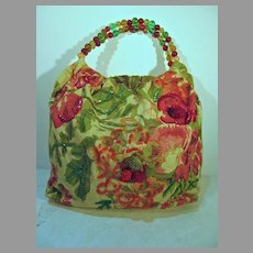 Unique Christian Livingston Floral Fabric w/Glass Bead Handle Handbag