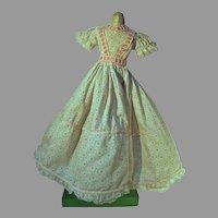 Vintage Cotton Print Floor Length Doll Dress, 1950's