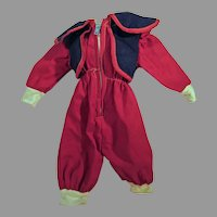Vintage 1950's Doll Ski Suit with Zippered Front