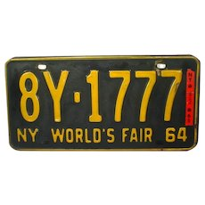 """New York State 1964 License Plate """" NY WORLD'S FAIR"""