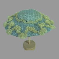 Charming Light Blue Doll Picture Hat, 1950's