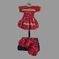Charming 1950's Cotton Doll Dress w/Matching Panties