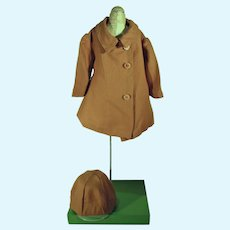 Brown 1950's Doll Coat and Hat