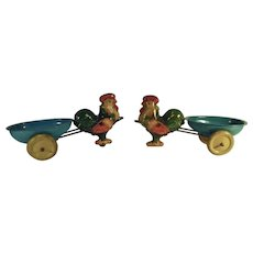 Pair of  Vintage Wyandotte Tin Roosters Pulling Egg Cart