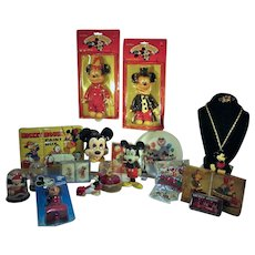 21 Pieces of  Vintage Walt Disney, Mickey Mouse and Friends Collectibles