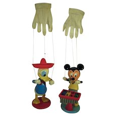 Vintage Mickey Mouse and Donald Duck, Child's Hand Glove Puppets