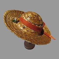 VIntage Straw Doll Hat, 1950's