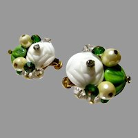 Vintage Vendome Summer Clip On Earrings, 1960's