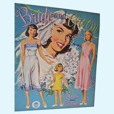 1949 Uncut Bride and Groom Paper Dolls, Merrill
