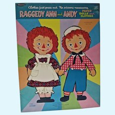 VIntage Whitman Raggedy Ann&Andy Paper Dolls, 1966, Uncut!
