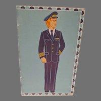 Un-Cut 1977 Male Airline Pilot Paper Dolls, Carlsen
