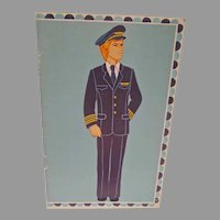 Un-Cut 1977 Male Airline Pilot Paper Dolls, Carlsen