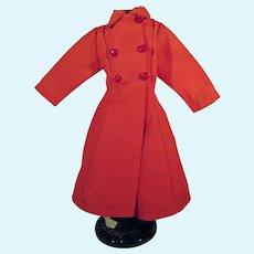 Red Gaberdine  Doll Coat, Wonderland Doll Hospital, Seattle, 1950's