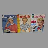 Three Vintage Movie Magazines, Doris Day Covers, 1950's