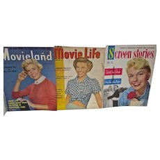 Three Vintage Movie Magazines, Doris Day Covers, 1950's