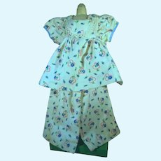 Adorable Doll Flannel PJ's w/Hearts & Flowers Print, 1950's