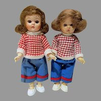 "Pair of 8"" Pam Walker Dolls, 1950's, Dressed as Twins"