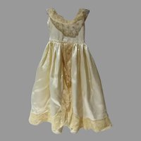 Vintage Silk Satin and Lace Doll Gown, 1940's