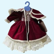 Burgundy Velvet Doll Dress and Cape, 1980's