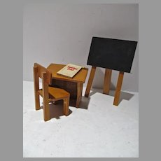 Miniature Wooden School Desk, Chair & Chalk Board w.Accessories