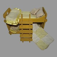 """Yellow Wooden Bunk Beds w/Ladder&Bedding for 8"""" Dolls, 1950's"""