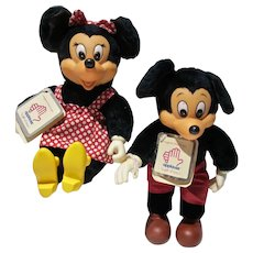 Vintage Minnie & Mickey Mouse Plush Figures, Applause, 1981