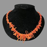 Vintage 1970's Coral Branch Necklace with Silver Clasp