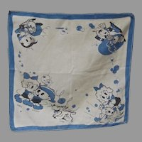 Vintage Children's Handkerchief w/Cartoon Character Scrappy, 1930's